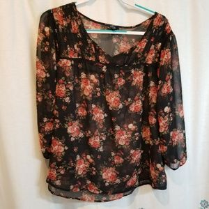 Floral rose sheer 3/4 length sleeve blouse